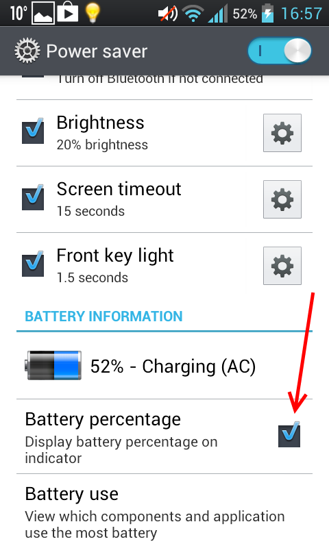 Android display battery percentage on indicator