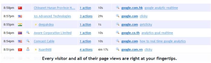 Clicky Analytics Visitor Log