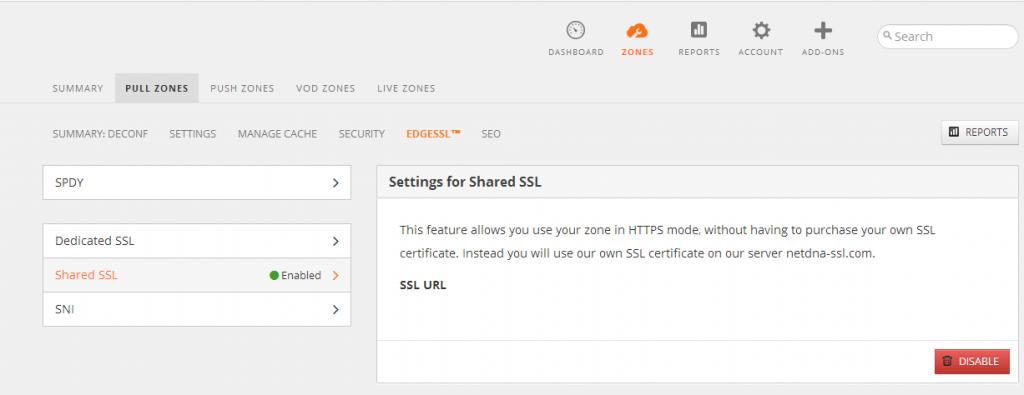 Enable CDN shared SSL