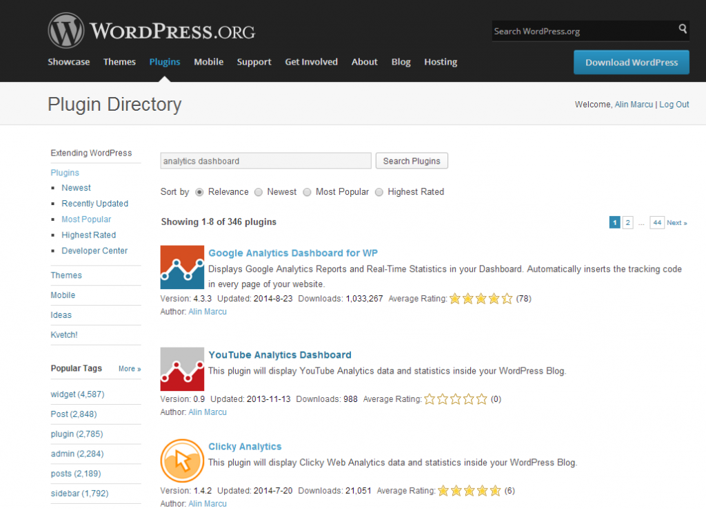 Wordpress plugins directory with icons
