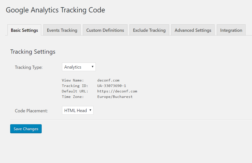 Google Analytics Dashboard for WP tracking