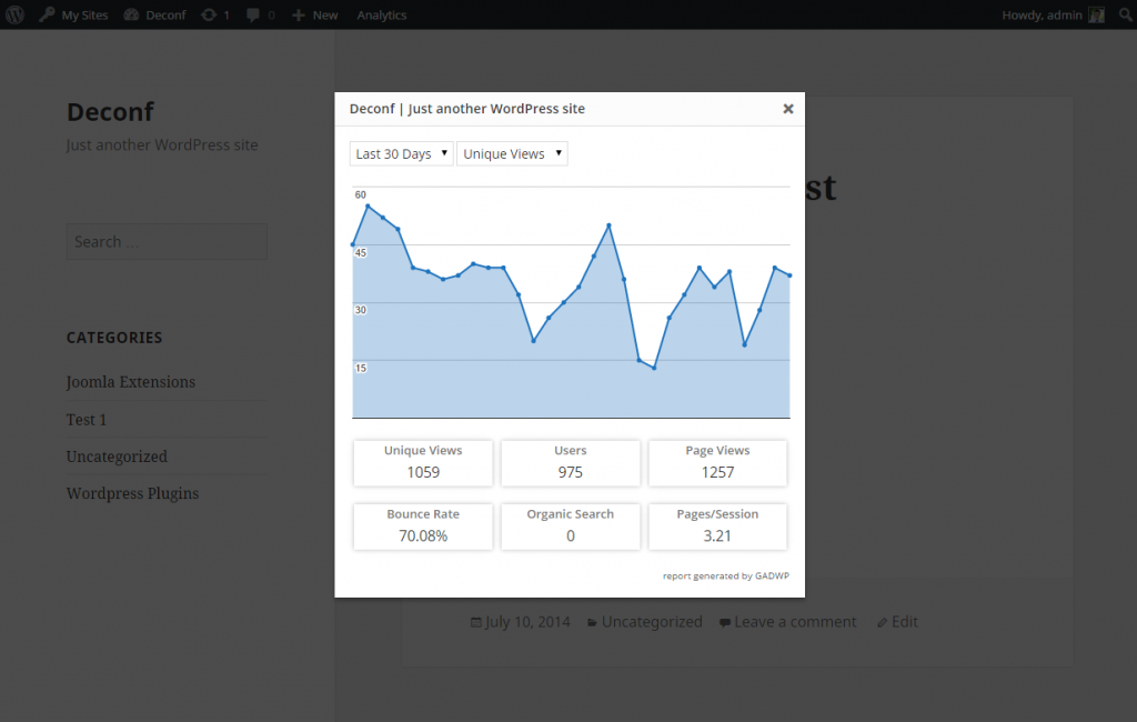 Google Analytics Dashboard - Frontend Report