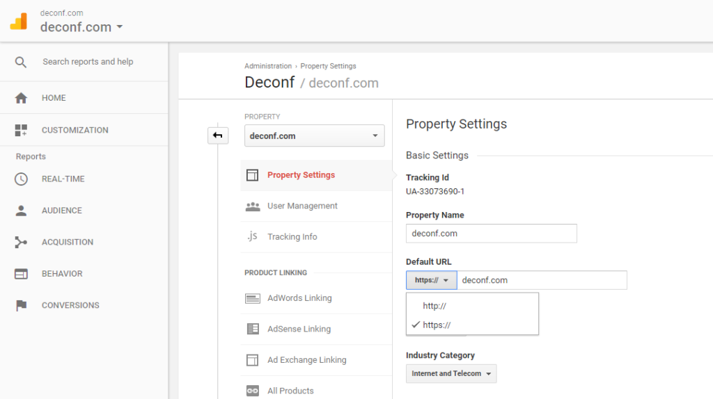 google analytics property https