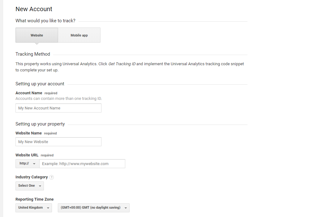 Creating a Google Analytics account