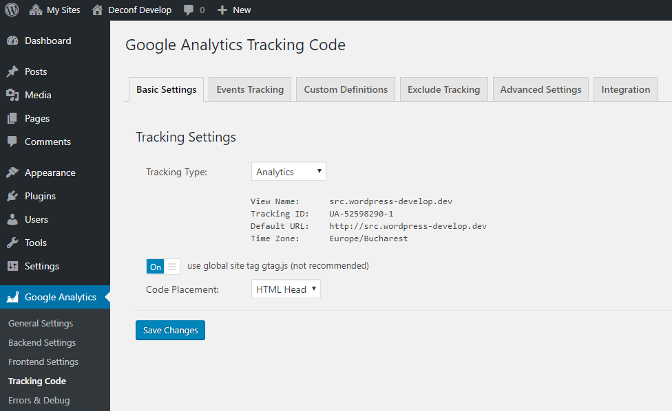 Google Analytics with gtag.js in GADWP