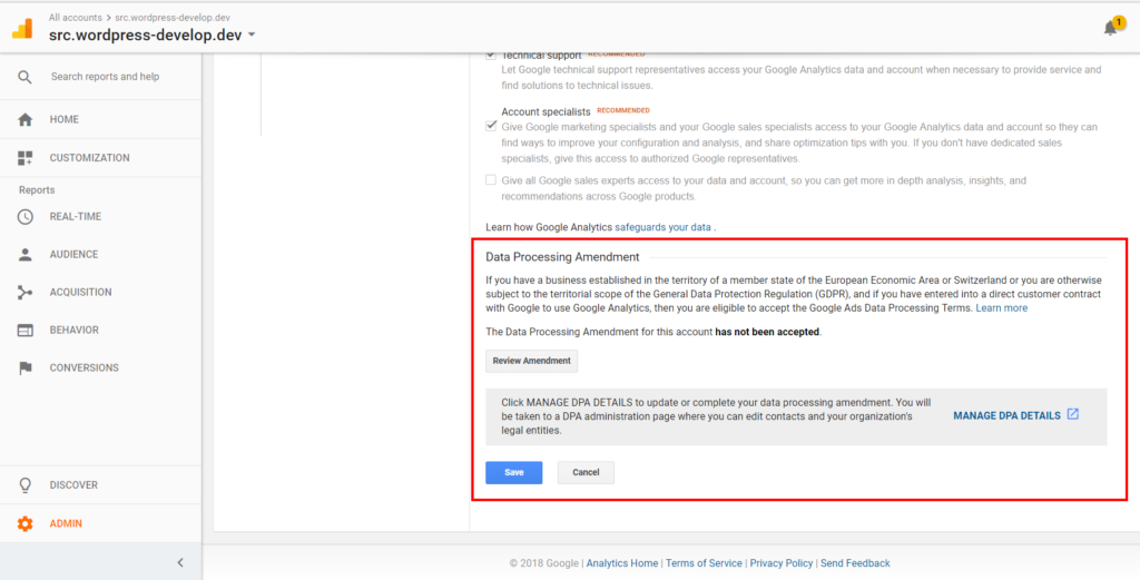 Google Analytics Data Processing Amendment