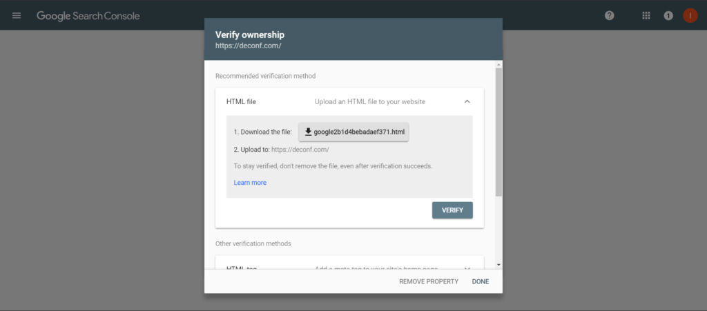 Google Search Console verify property screen