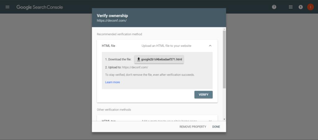 Google Search Console verify property screen