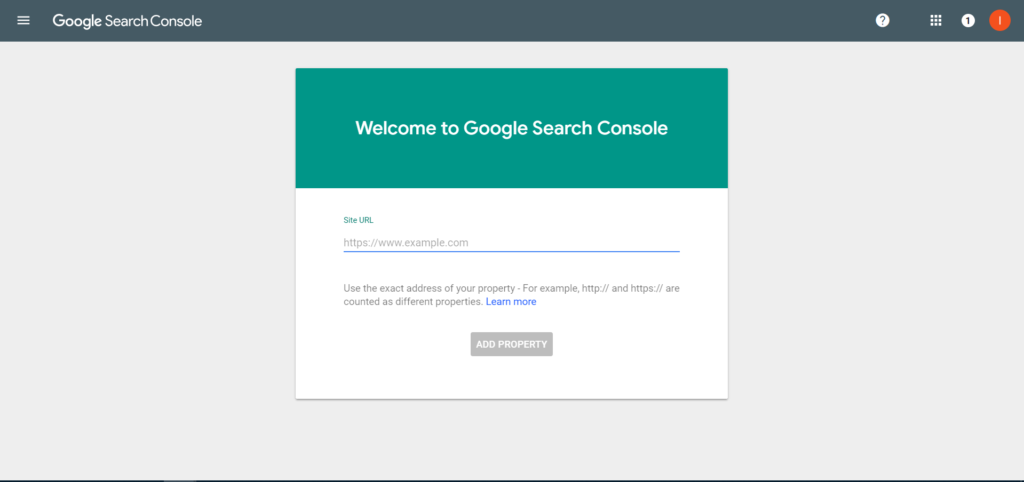 Google Search Console Welcome screen