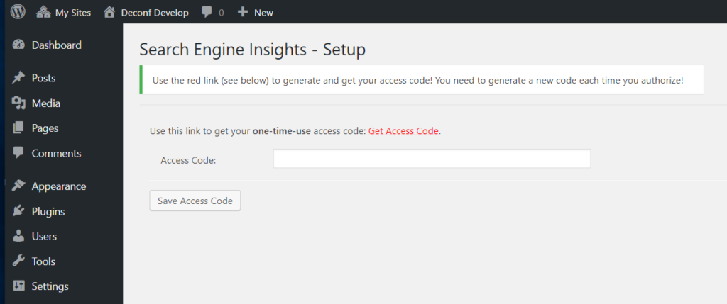 Search Engine Insights access code