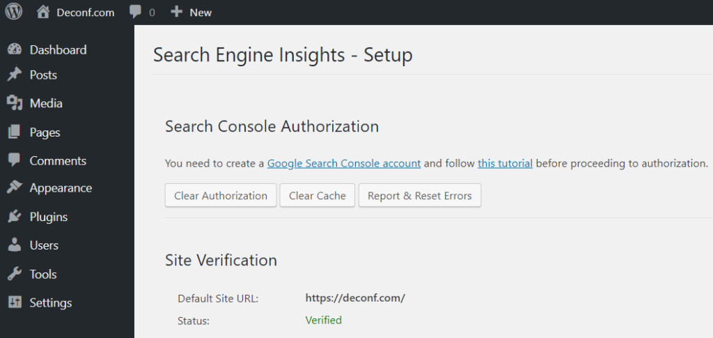Search Engine Insights site verification